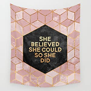 """Shukqueen Tapestry, Pink and Gold Cube With Words Wall Hanging Tapestry Dorm Decor (60""""H x 80""""W, Cube)"""