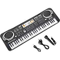Kids Piano Keyboard Musical Instruments Toys with Microphone and Audio Line,61 Key USB Power
