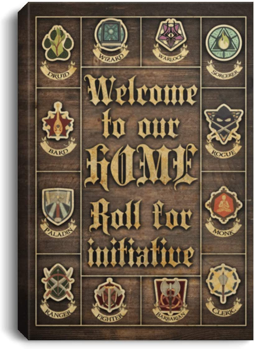 """Canvas Framed Wood Welcome to Our Home Roll for Initiative Dragons – Family Friend Gift Unisex On Christmas, Awesome Birthday Decor Home Print Wall Art Size 16""""x24"""""""