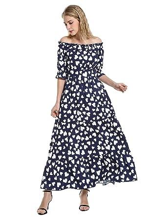 f49cfa8d603376 STYLE Elasticized Waistband Off The Shoulder Dress Wave Point Long Beach  Dress Blue