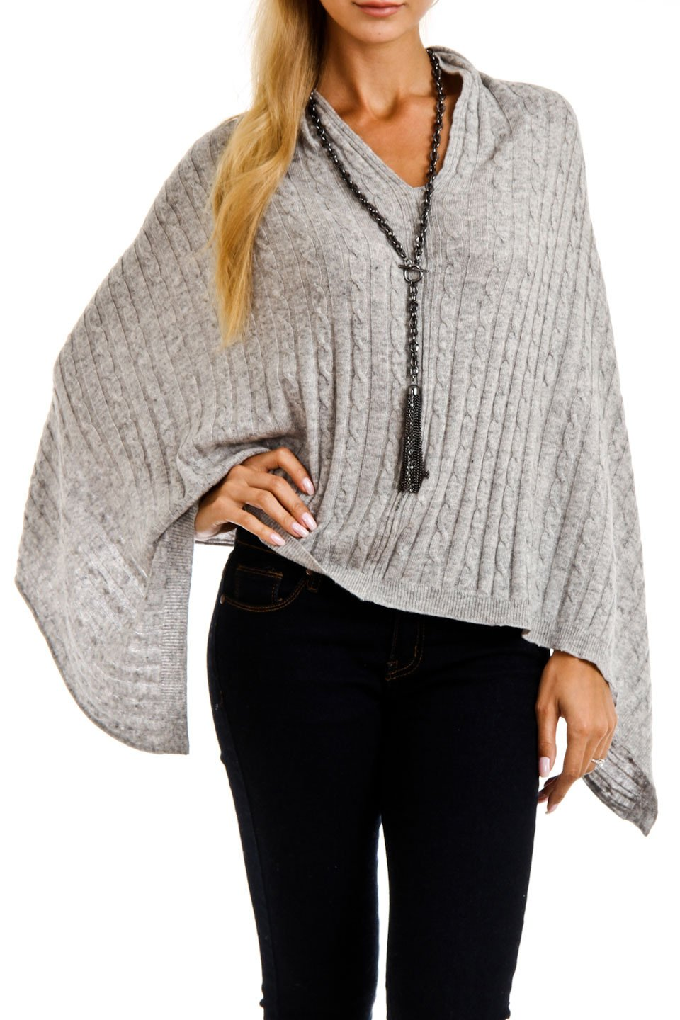 Cashmere Cable knit Poncho (Grey)