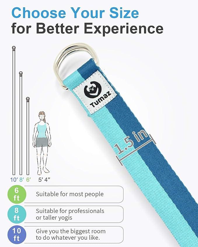 15+ Colori 1.8-3M Piedi opzioni Tumaz Cinghia Yoga con Fibbia ad Anello a D Regolabile Extra sicura Struttura Delicata Durevole e Confortevole