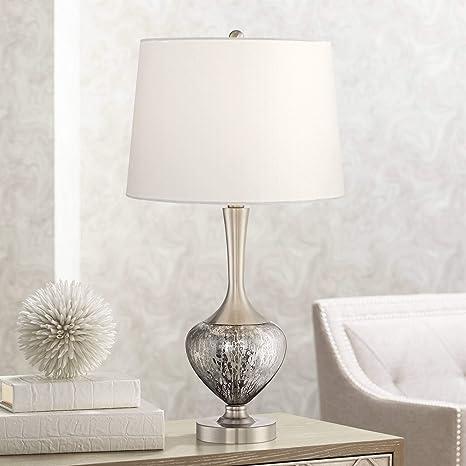 Martha Modern Table Lamp Mottled Brushed Nickel Glass Vase White ...
