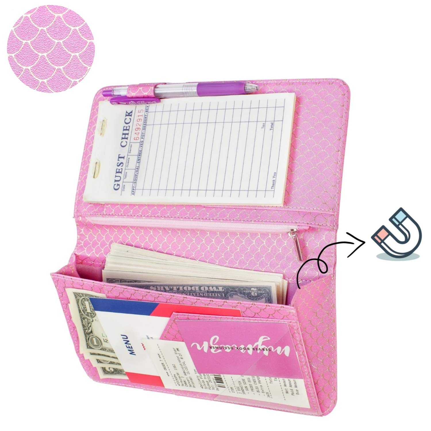 Big Size 5 X 9, Mermaid Pink Mymazn Server books for Waitress Wallet Shimmer Cute Waitressing Book Waiter Organizer with Magnetic Money Zipper Pocket Fits Restaurant Pad Guest Checkbook