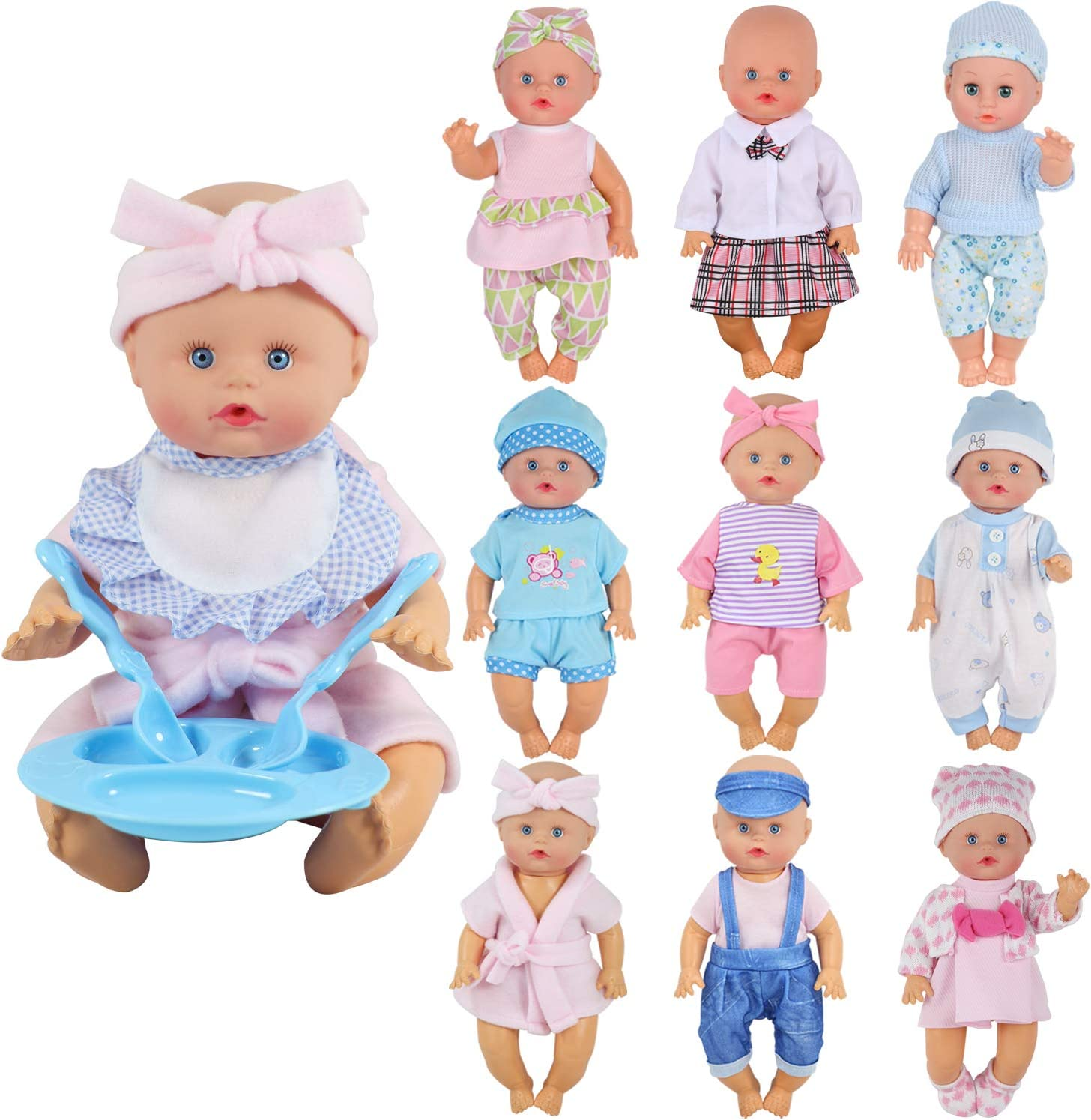 10-11inch Reborn Doll Knitted Dress Hat Clothes Suit bebe Girl Doll Accessories