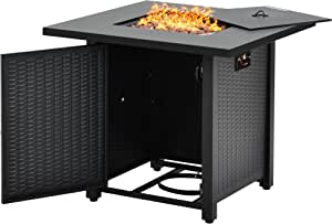 Recaceik Propane Fire Pit Table, Outdoor Companion 28 Inch 40,000 BTU Rectangular Gas Fire Pit Table w/Free Lava Rocks and Electronic Ignition Balcony Table Courtyard Garden Terrace Winter