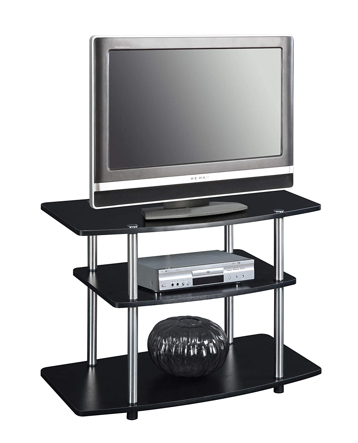 Convenience Concepts 131020 Designs2Go 3-Tier TV Stand, Black
