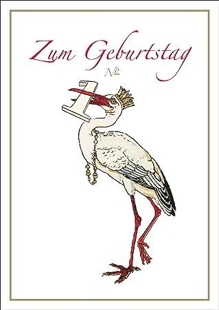 Baby Geburtstags Gluckwunschkarte Mit Storch Zum 1 Geburtstag