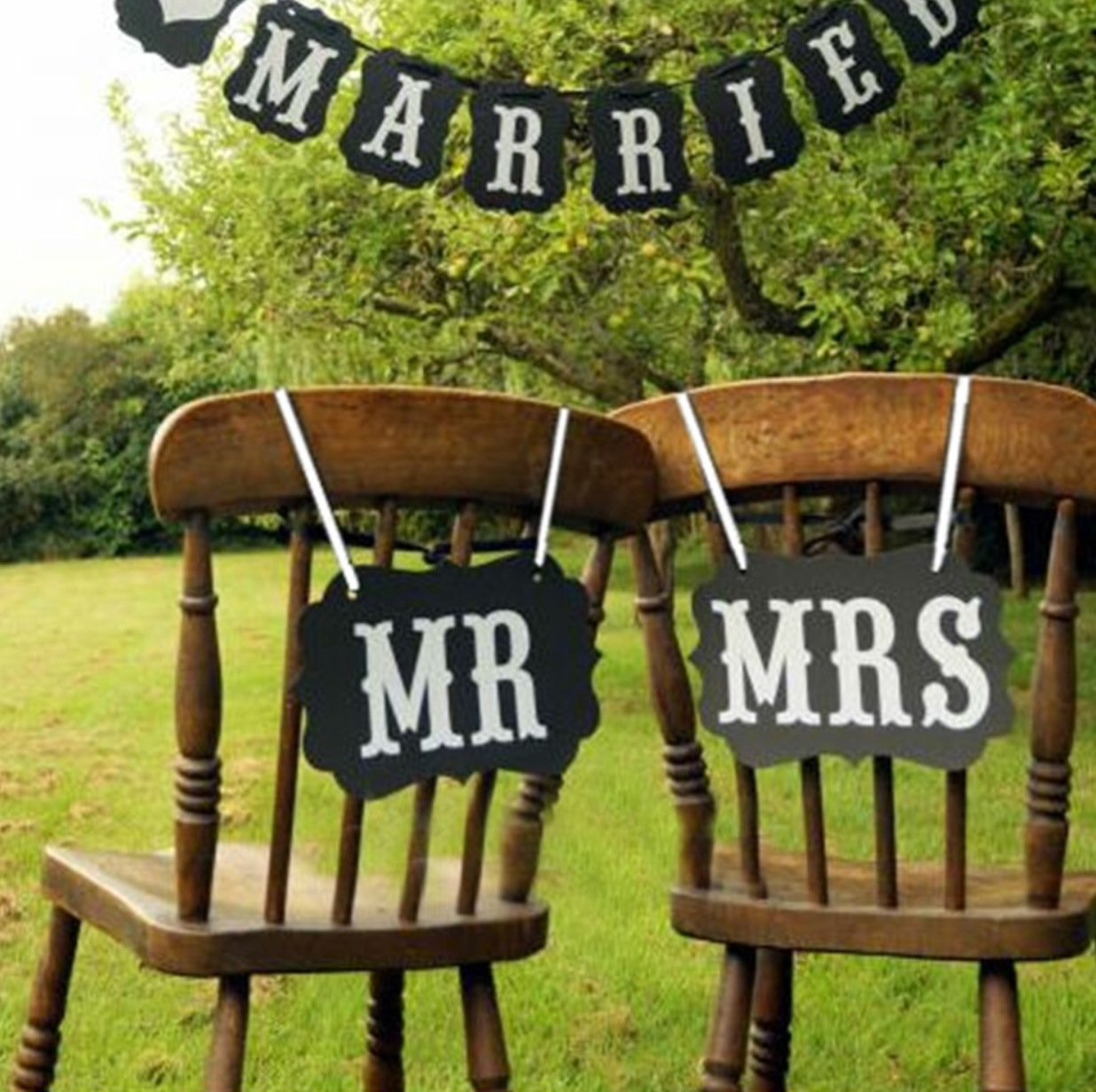 Amazon.com: Mr and Mrs photo props, Mr and Mrs chair signs, wedding ...
