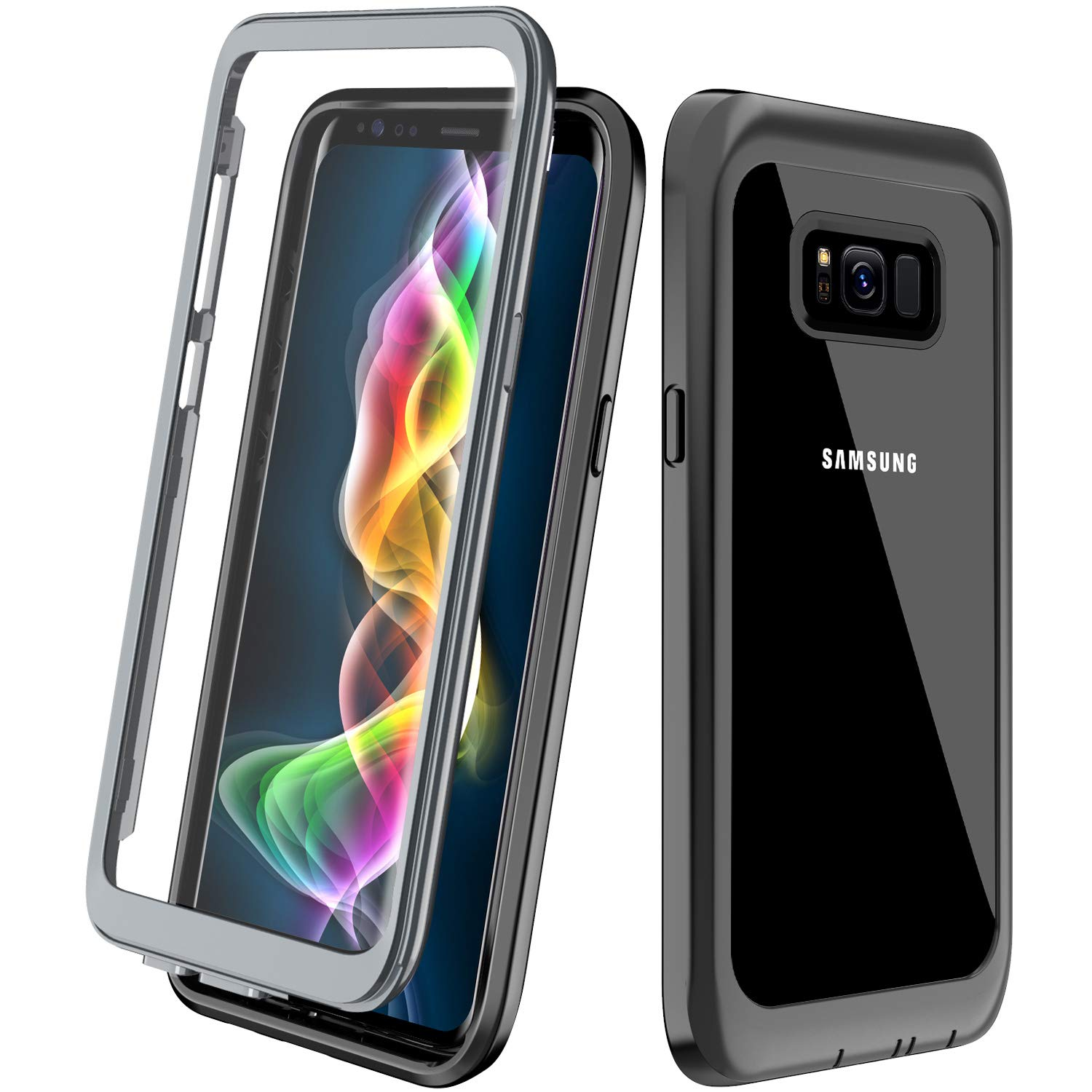 Designed Case for Samsung Galaxy S8 Case,ALOFOX Full Body Bumper Case Built-in Screen Protector Slim Clear Shock-Absorbing Dustproof Lightweight Cover Case Samsung Galaxy S8 (5.8 Inch) (Black)