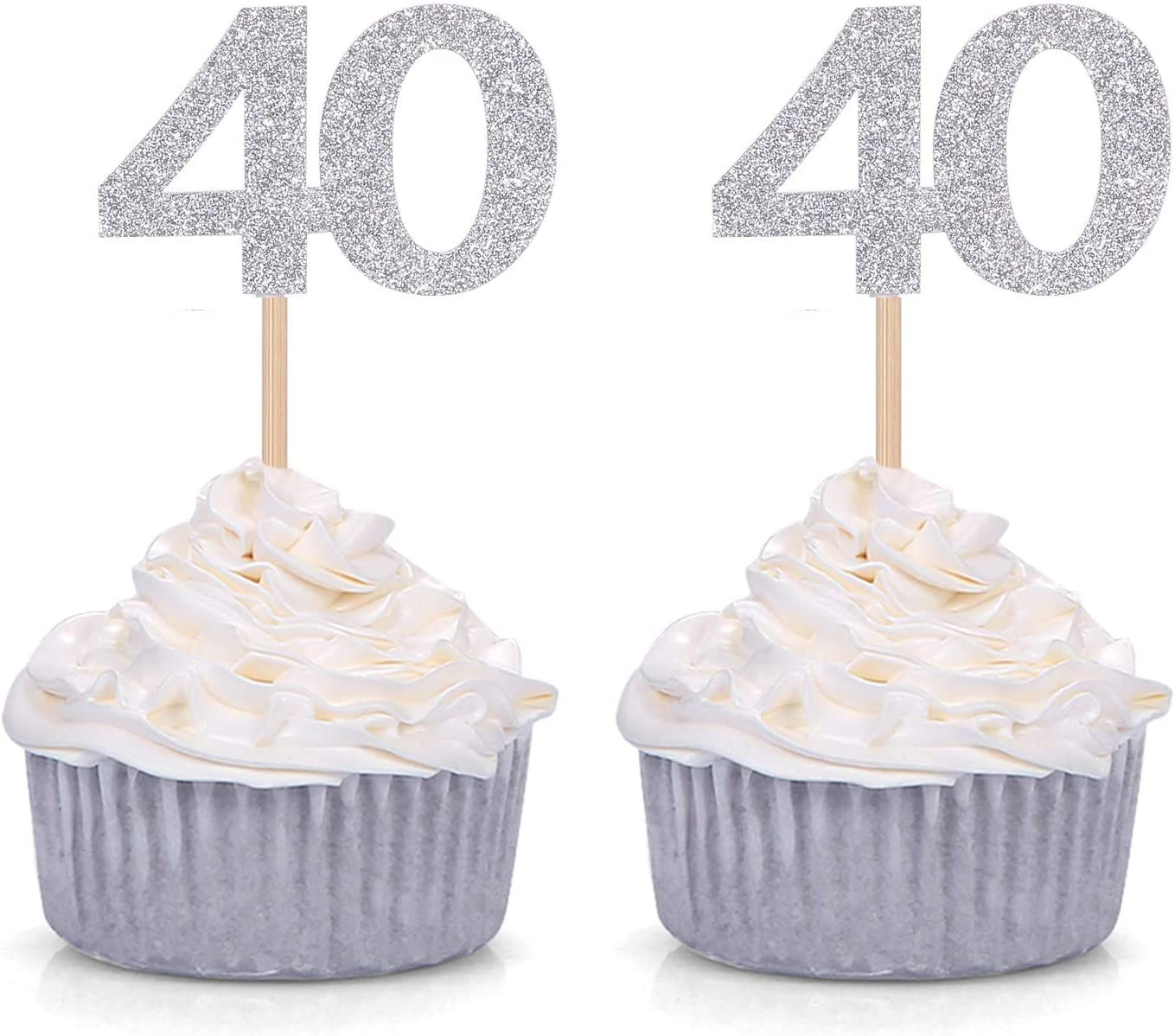 Set of 24 Silver Glitter Number 40 Cupcake Toppers 40th Birthday Celebrating Decors Giuffi