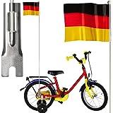 Fahrradfahne   Deutschland Flagge   24 x 20 cm   Signalfahne und Support   Fußball EM WM Nationalmannschaft Weltmeisterschaft Deko Fahrrad Flagge Fahne