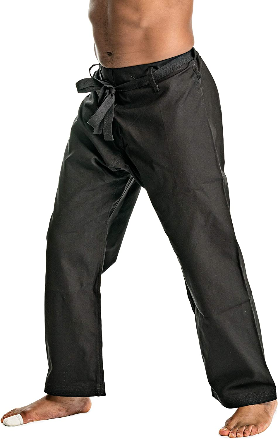 Ronin Brand Heavyweight Karate Pants Waist with Traditional Drawstring Black or White 100/% Cotton 12oz Weight