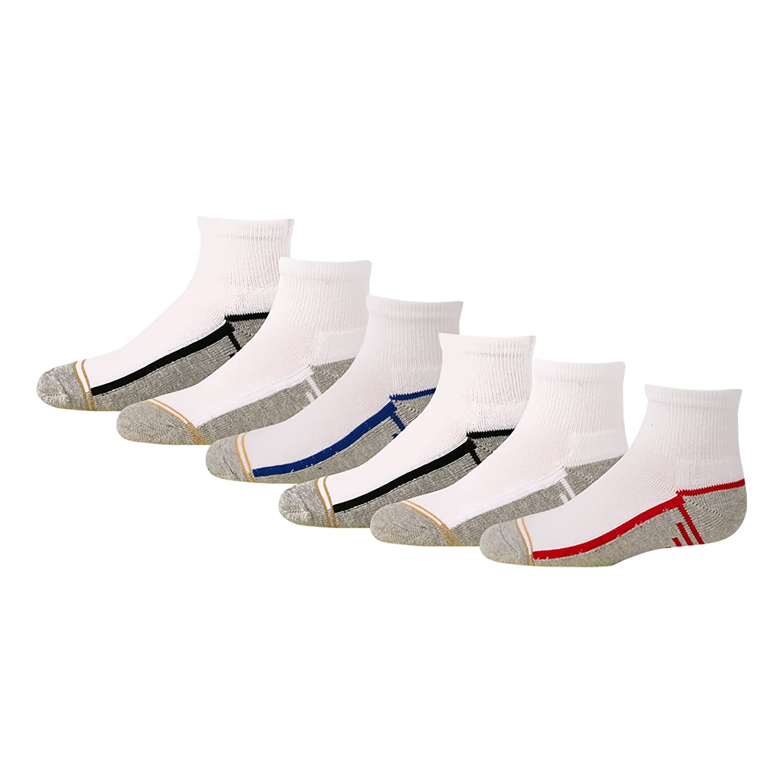 Gold Toe Boys' Athletic Quarter Socks, 6-Pair Gold Toe Boys 8-20 GT123