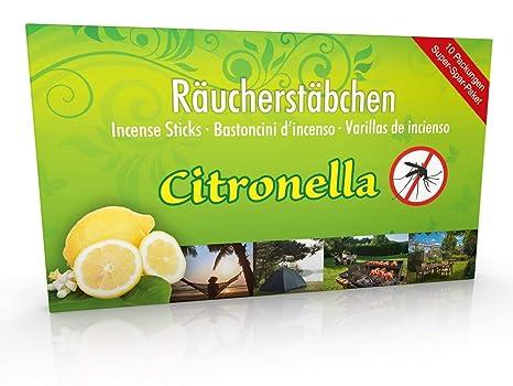 10 Packungen Citronella Anti Mücken Räucherstäbchen, Brenndauer ca. 60h (gesamt). XL Vorrat als Alternative zur Citronella Ke