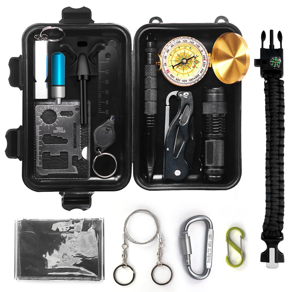 Lgcbo Survival Gear Kit 14 in 1,Outdoor Multi-Purpose Tool. Emergency Survival Kits for Camping, Outdoor Sports,Hiking, Adventures, Survival and in Emergency Situations