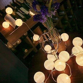 ELINKUME LED Bolas de algodón luces de hadas, 20 LEDs 10,8 pies ...
