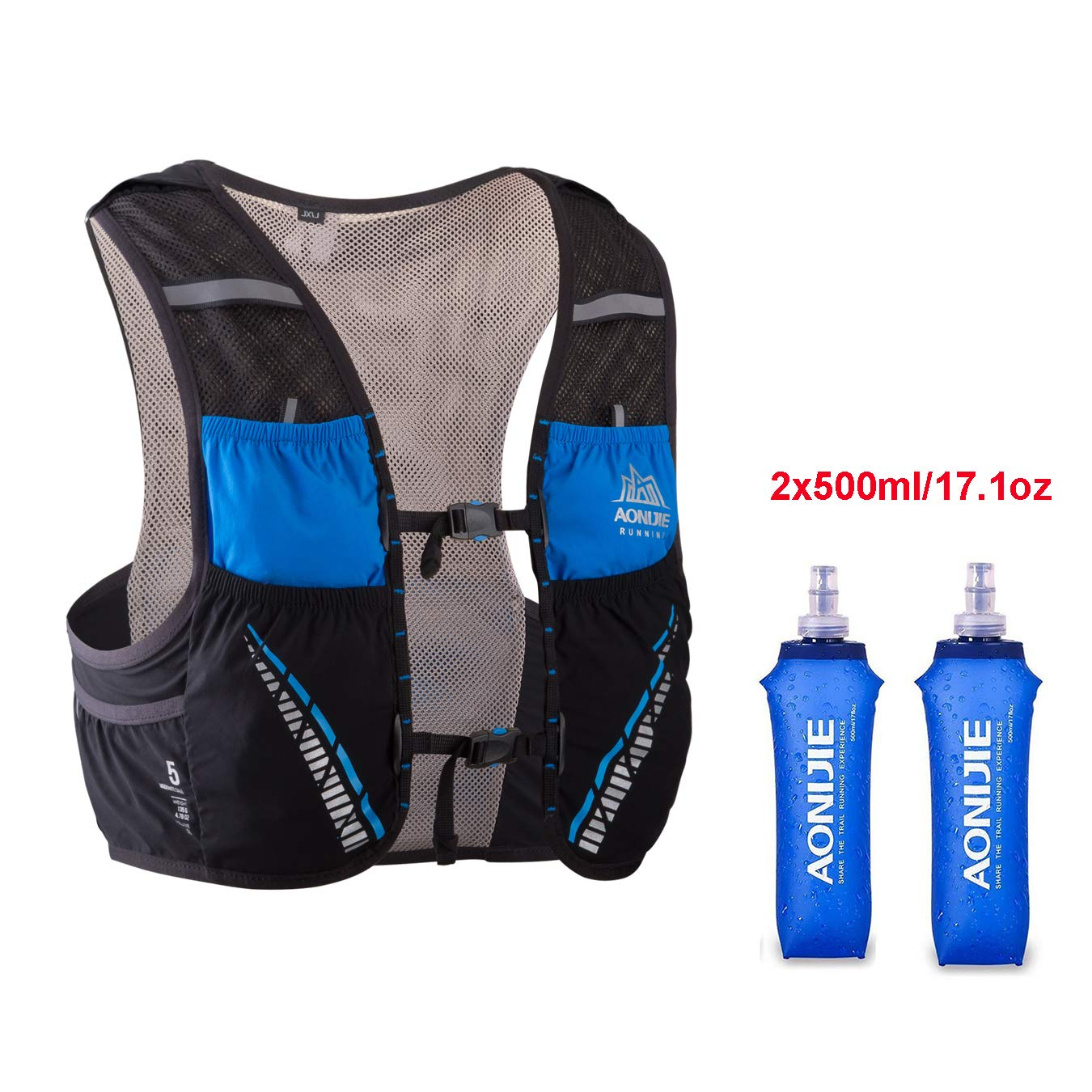 AONIJIE Hydration Pack Backpack with 2x500ml Water Bottles,Lightweight 5L Outdoor Marathoner Running Race Hydration Vest for Cycling Hiking (Black&Blue, S/M(29.5-33in))