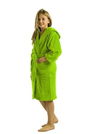 740711a7f2 Amazon.com  Terry Bamboo Cotton Hooded Robe Bathrobe Girls