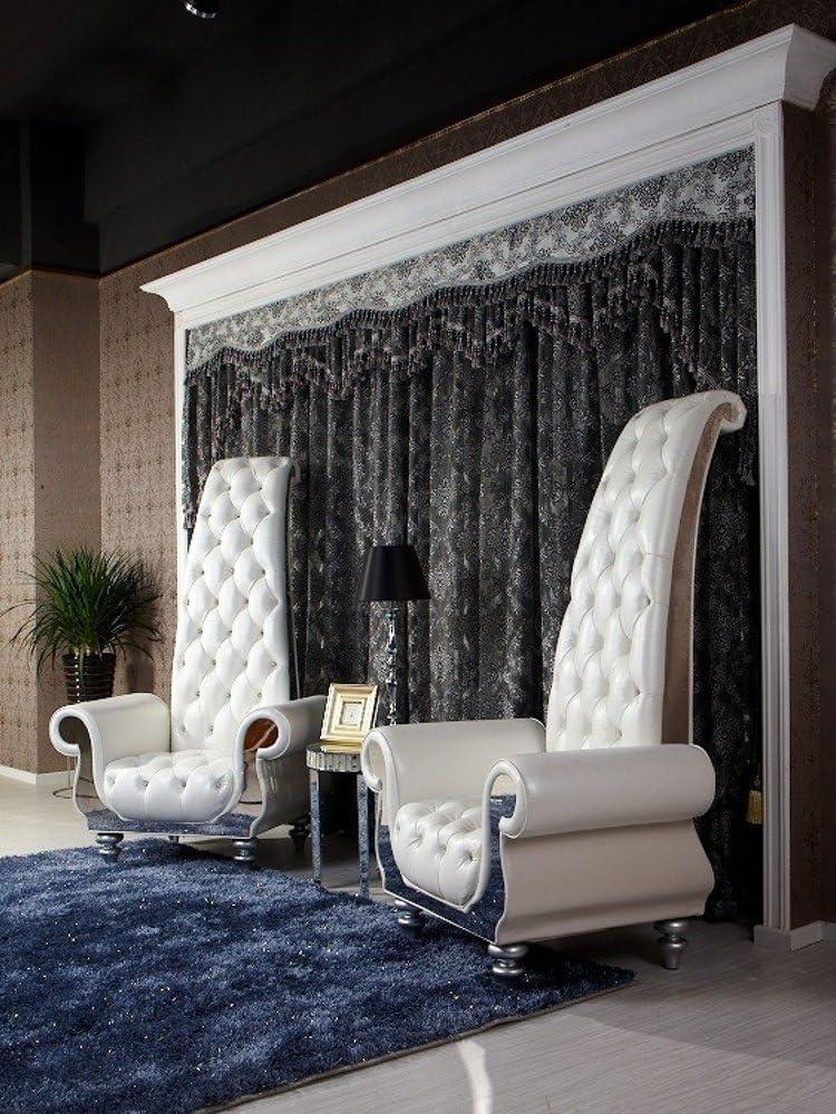 VIG Furniture - Divani Casa Luxe Neo-Classical Pearl White Italian Leather Tall Chair - VGKND6032