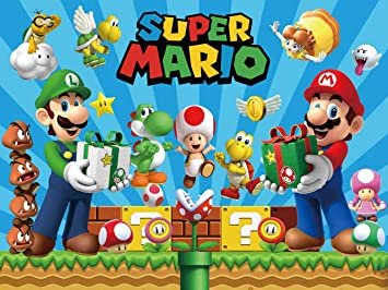 Amazon Com Super Mario Backdrop Uncle Bros Happy Birthday Party Supplies Baby Shower Banner For Boy Background Photography Camera Photo