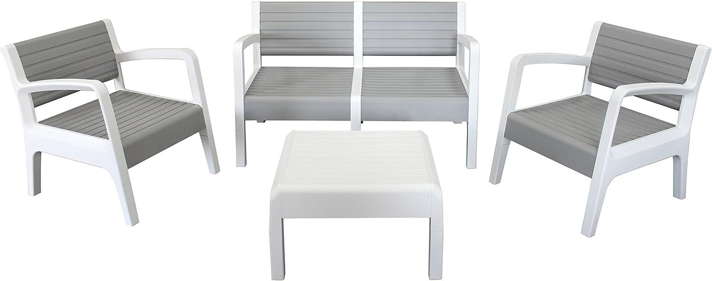 Shaf Miami - Conjunto muebles jardín/terraza, color piedra: Amazon.es: Jardín