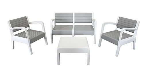 Shaf Miami - Conjunto muebles jardín/terraza, color piedra