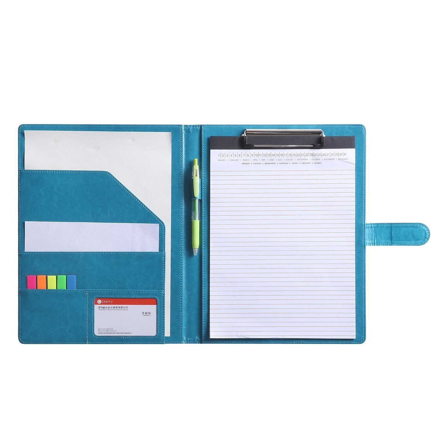 Resume Folder Clipboard Holder Letter Size A4 Legal Pad, Portfolio Pad Folio Document Organizer for Interview & Business (Turquoise)