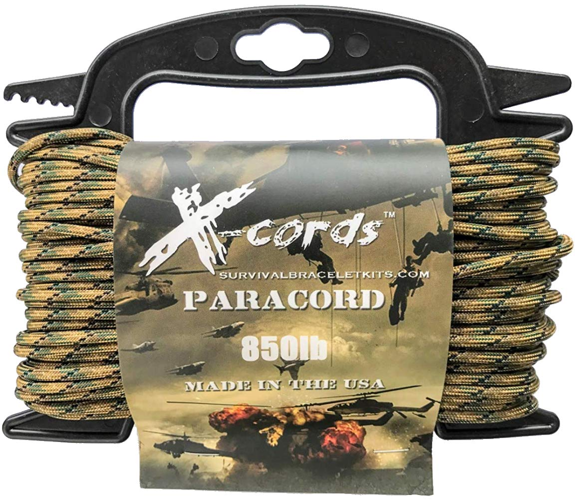 X-CORDS Paracord 850 Lb Stronger Than 550 and 750 Made by Us Government Certified Contractor (100' Tactical CAMO ON Spool 850) by X-CORDS (Image #1)