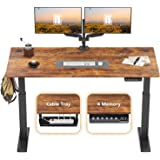 FEZIBO Electric Height Adjustable Standing Desk, 48 x 24 Inches, Black Frame/Dark Rustic Brown Top