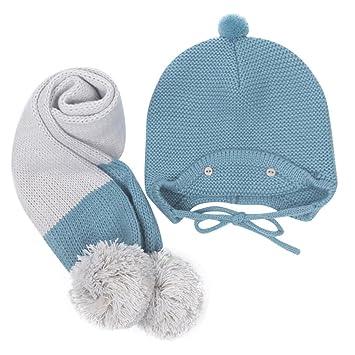 pompones de pelo para gorros y bufandas, Sannysis gorro y bufanda bebe conjunto de bufanda