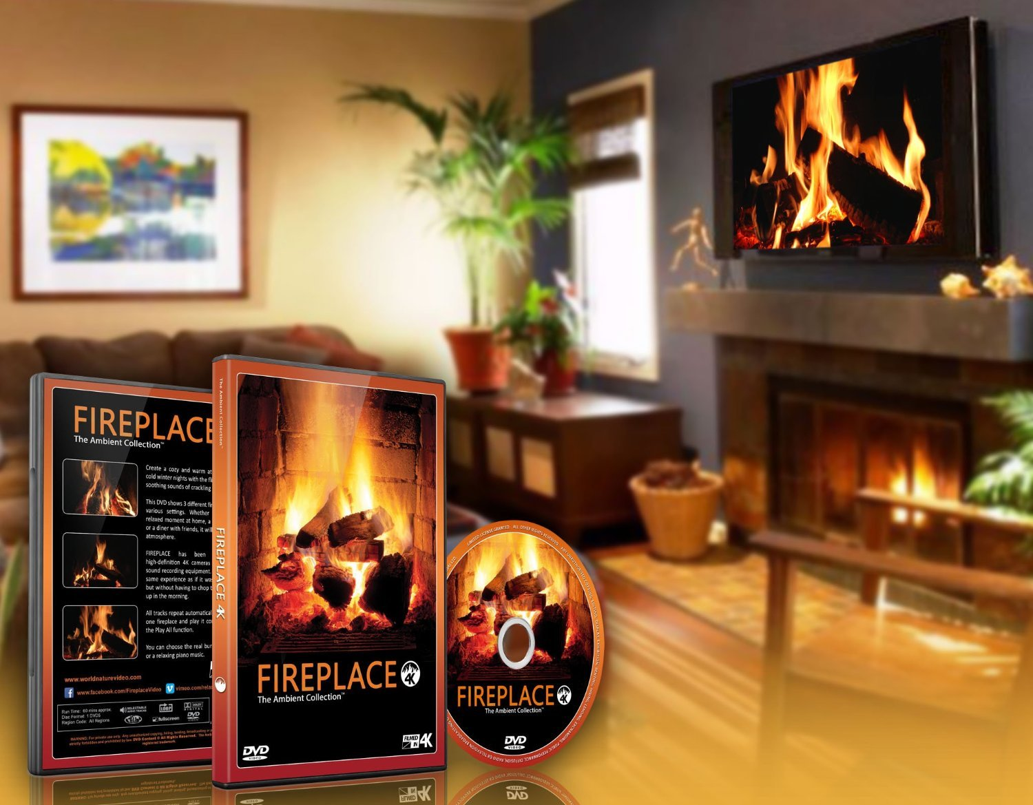 amazon com fire dvd fireplace filmed in hd of long wood fires