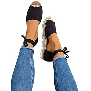 afd1db89e Image Unavailable. Image not available for. Color  Poucw Women s  Espadrilles Tie up Flat Sandals Ankle Strap Peep Toe Straw Shoes