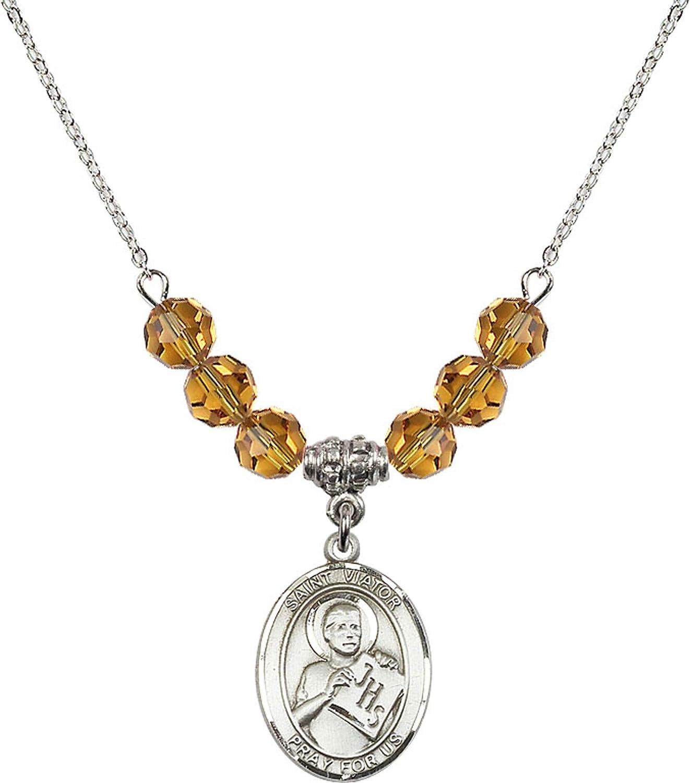 Bonyak Jewelry 18 Inch Rhodium Plated Necklace w// 6mm Yellow November Birth Month Stone Beads and Saint Viator of Bergamo Charm