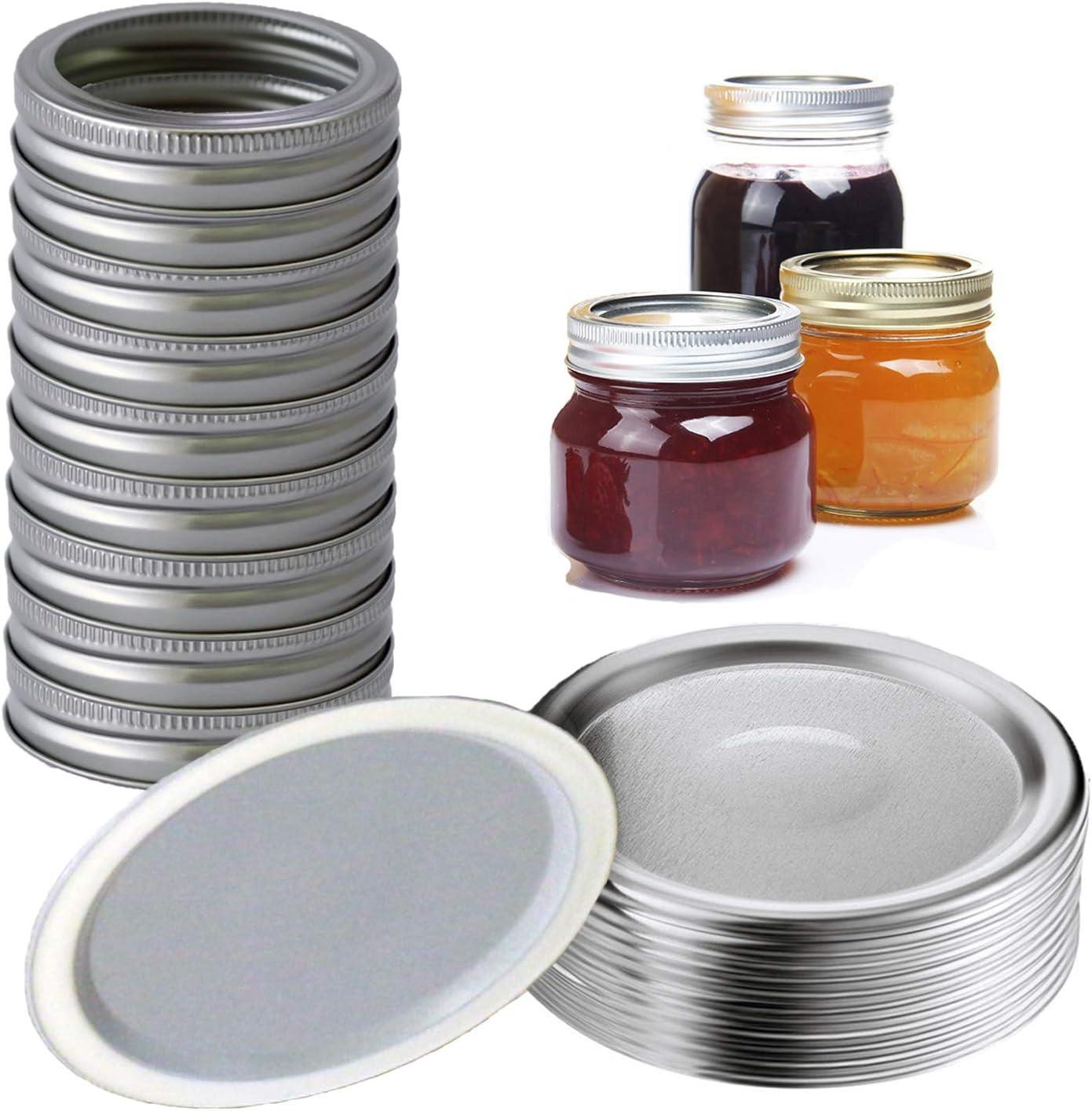48 Pcs Stainless Steel Canning Lids Regular Mouth Mason Jar Lids and Bands, Lids for Mason Jar Regular Mouth, Split-Type Lids Leak Proof Secure Mason Storage Caps (24pcs Lids & 24pcs Bands)
