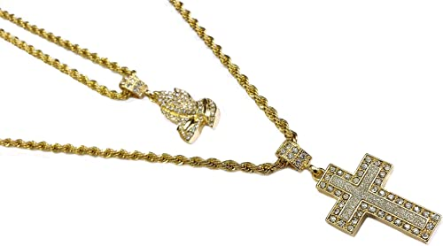 Exo Jewel 18k Gold Plated Double Chain Necklace with Praying Hands /& Vigin Mary Medallion Pendants