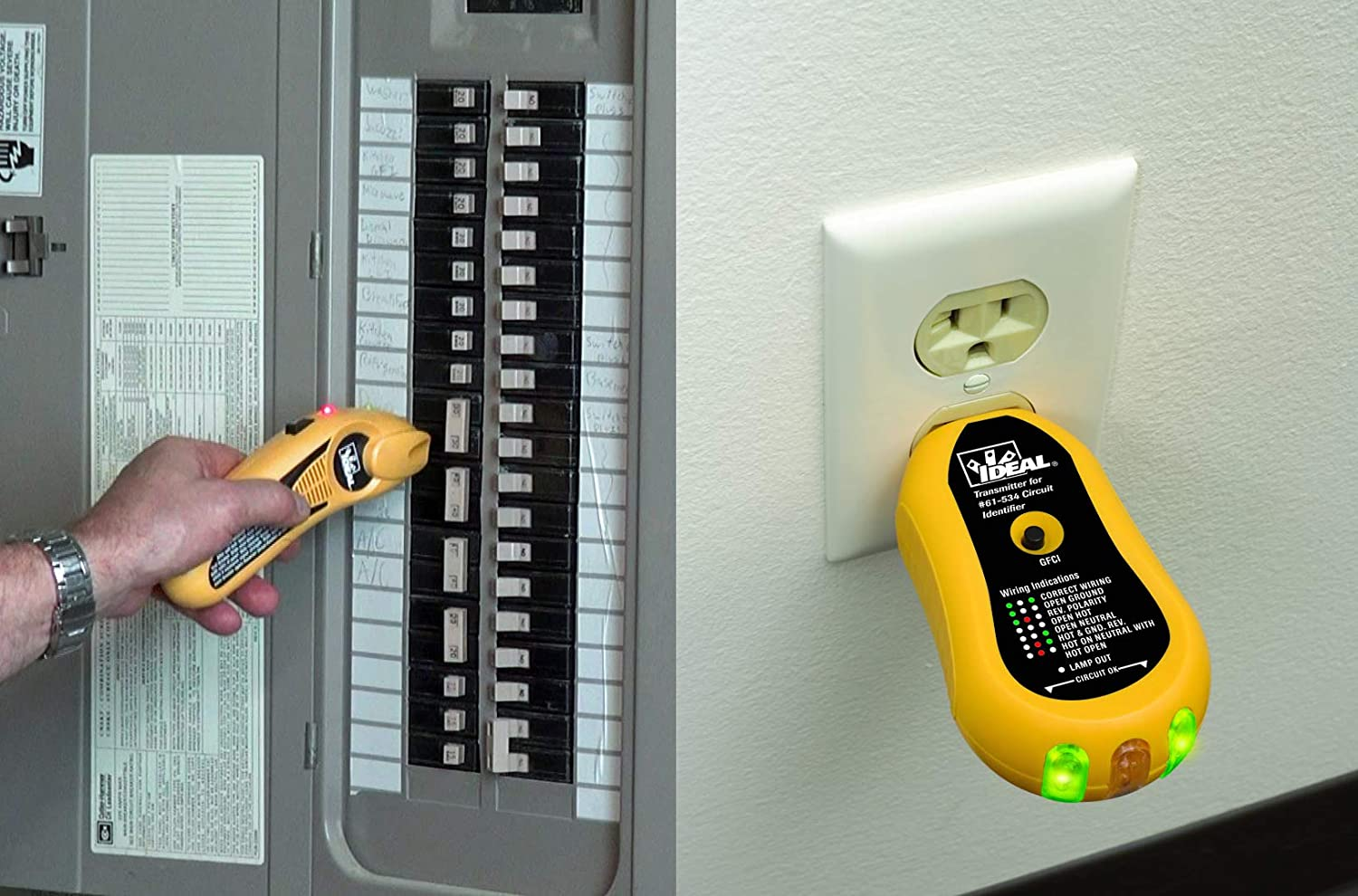 IDEAL INDUSTRIES INC  61-534 Digital Circuit Breaker Finder with Digital  Receiver and GFCI Circuit Tester