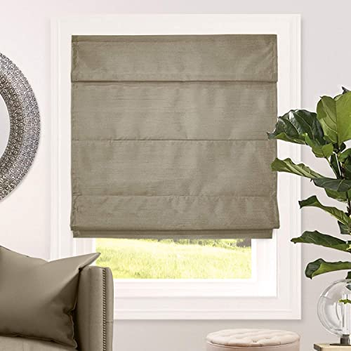 CHICOLOGY Cordless Roman Shades Blackout Lining Modern Sheen Fabric Cascade Window Blind Treatment, 47 W X 64 H, Lux Coffee Room Darkening
