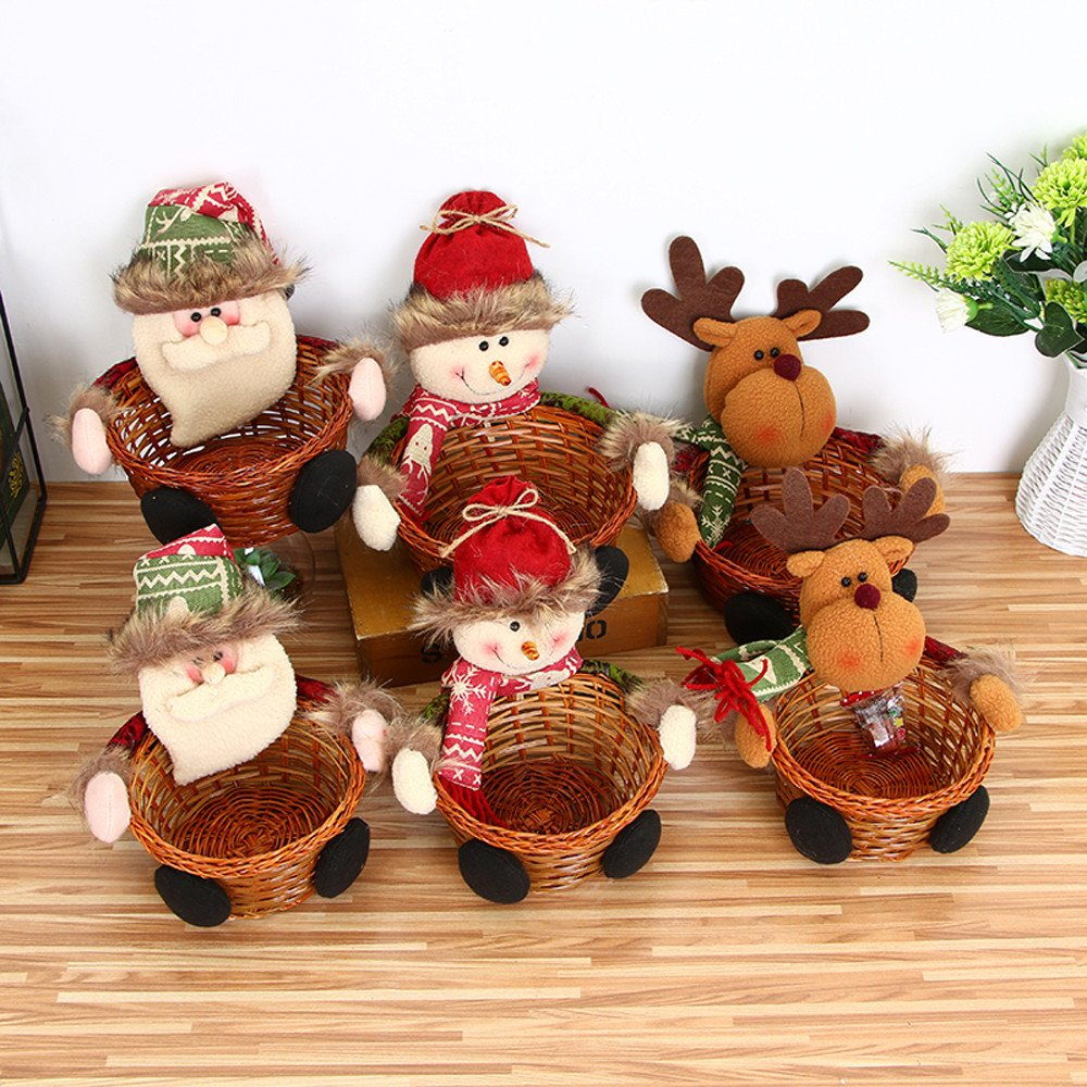 Gotian Christmas Candy Storage Basket Bamboo Santa Claus Storage Basket Gift Home Decoration