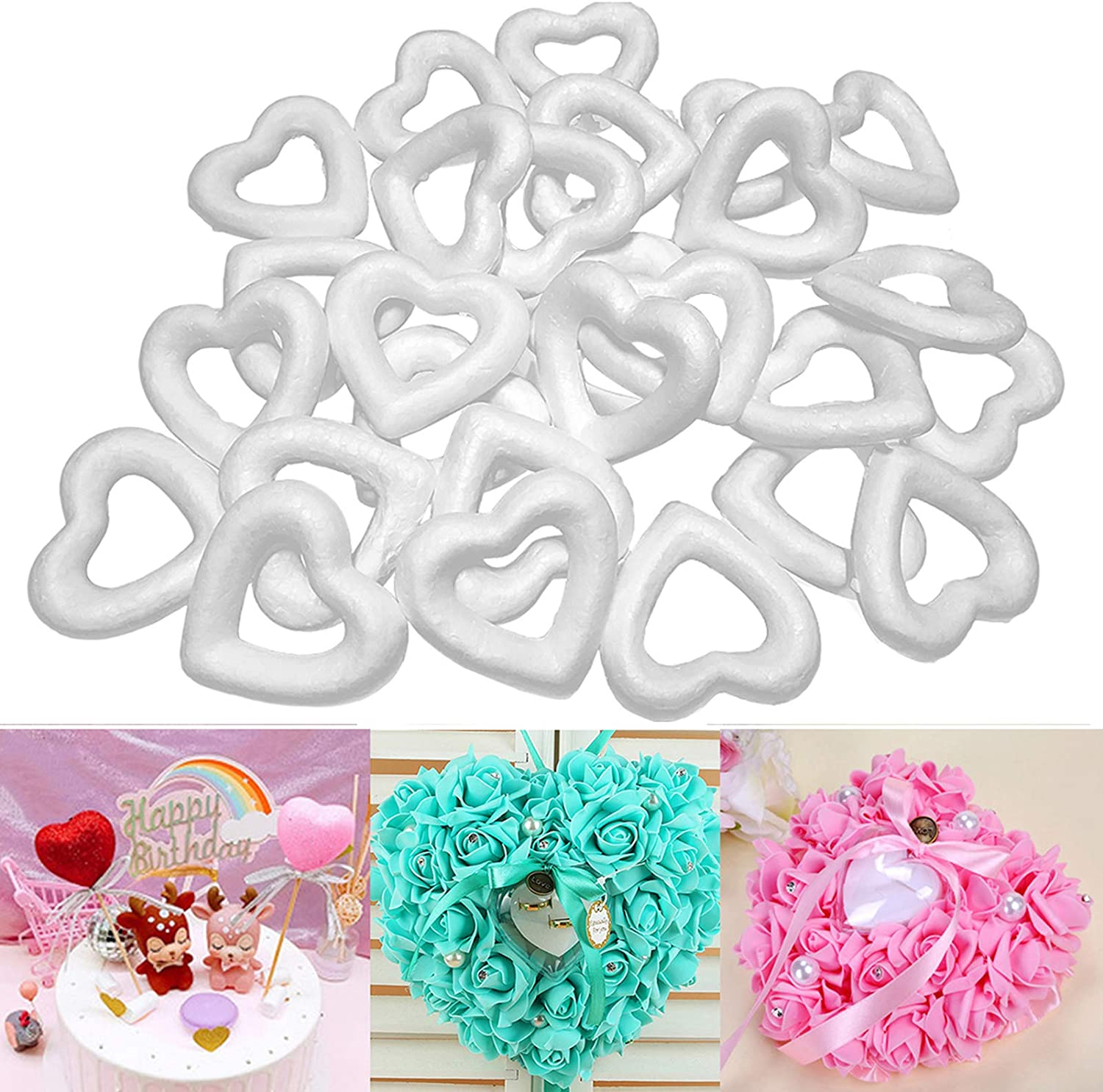 Actenly Heart Shaped Foam Wreath 20 Pack Polystyrene Foam Wreath Open Heart Shaped Extruded Heart Foam Wreath Diy Supplies For Craft Projects And Wedding Decorations White 2 4x2 3x0 5 Inches Arts Crafts