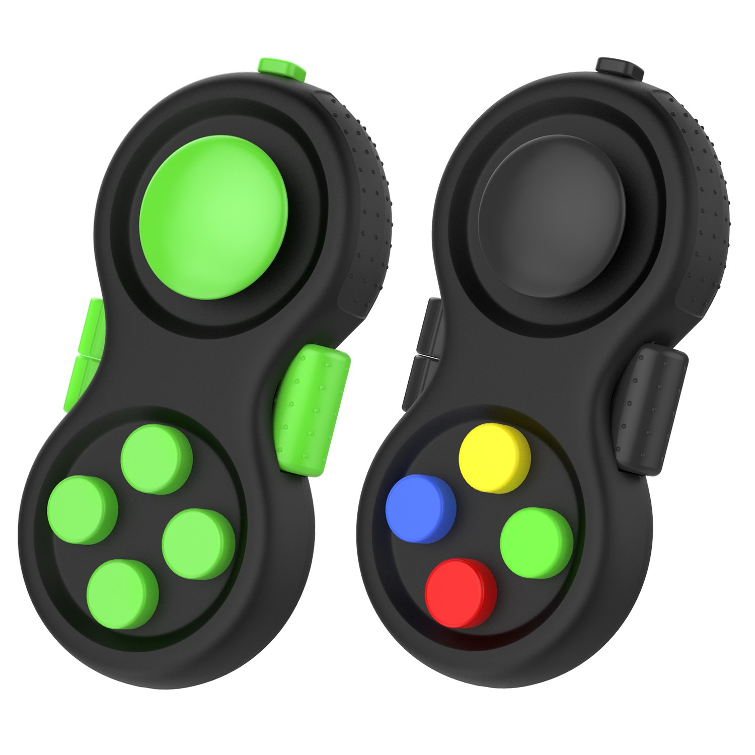 Fidget Controller Pad, ATiC [2 Pack] Stress Reducer Classic Game Pad Anti-anxiety Focus Hand Shank Toy for ADD, ADHD, Autism Kids and Adults Killing Time, Colorful/Black + Green/Black
