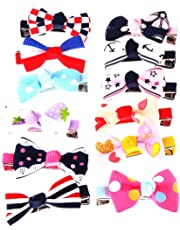 MagiDeal Lovely 12pcs Girls Ribbon Bowknot Bow Hair Clips Barrette Kids Headwear