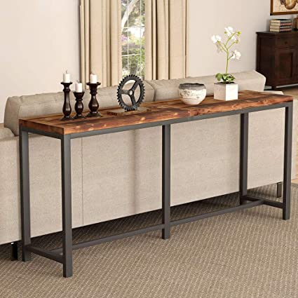 Amazon.com: Tribesigns Rustic Solid Wood Console Table ...