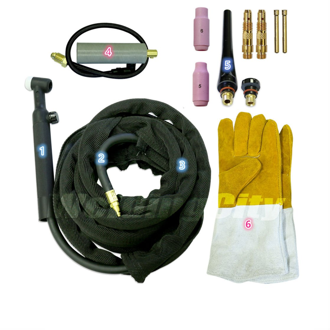 Complete Ready-to-Go Package for Miller Welder Air-Cool 25-foot Cable 200Amp w//Gift WeldingCity TIG Welding Torch WP-26FV-25R Flexible//Gas-Valve Head