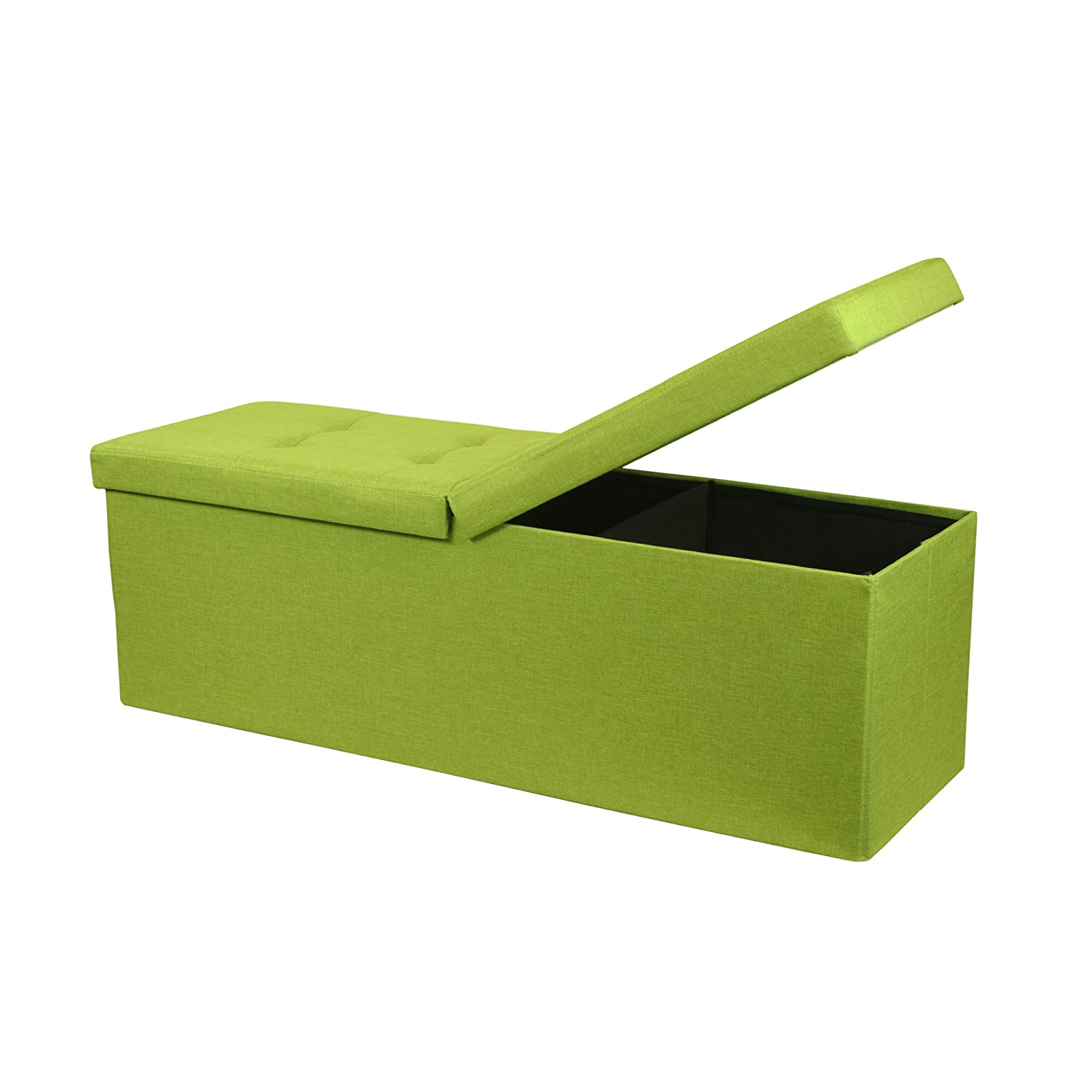Otto & Ben 45 Storage Ottoman Folding Toy Box Chest Smart Lift Top Upholstered Tufted Bench Foot Rest, Lime Green Best Price Mattress 45 Storage Ottoman