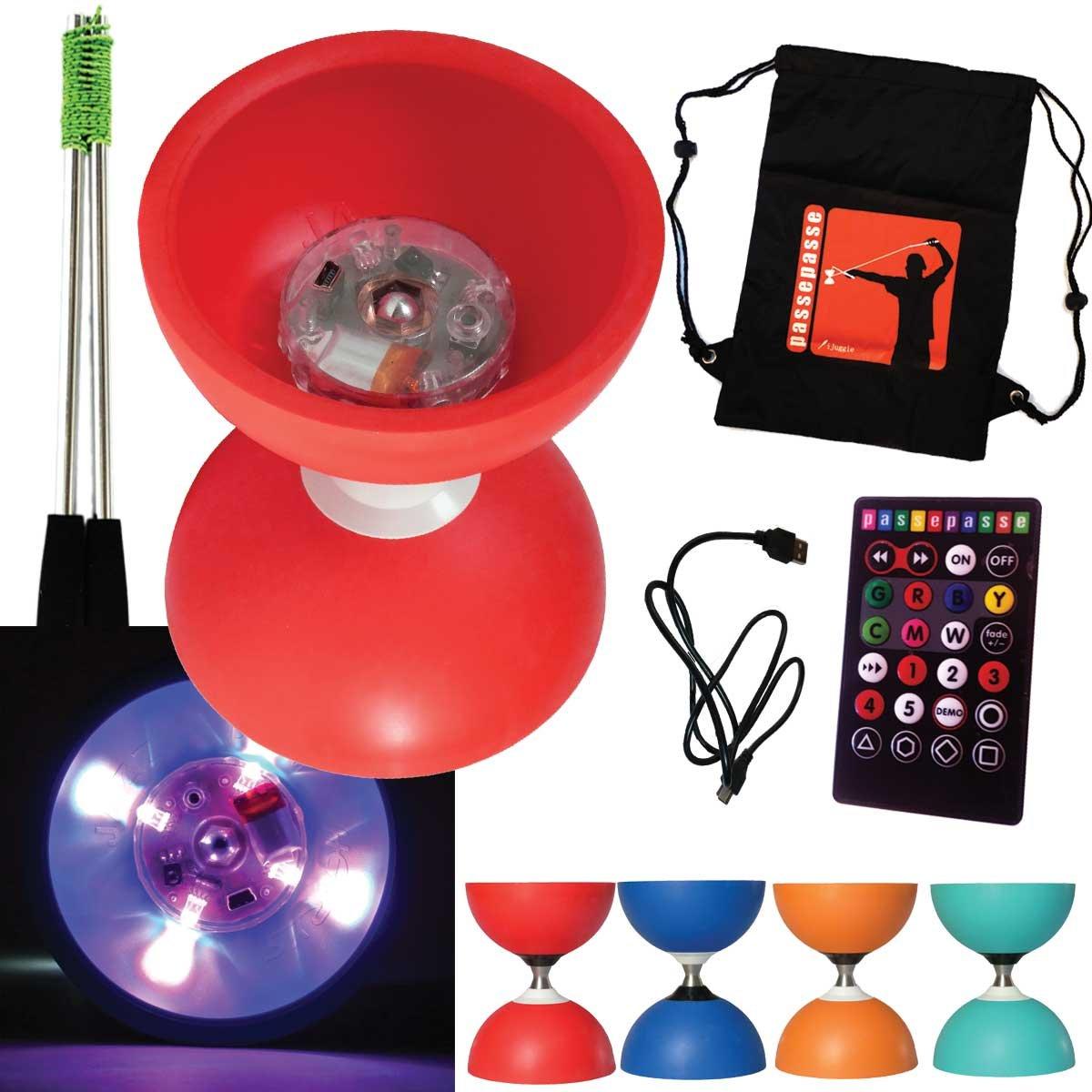 Henrys ROT Diabolo Jazz FREE Lagerachse mit USB-Fernbedienung LED-Leuchten + Aluminium Steuerknüppel und Tasche