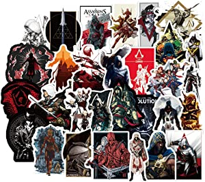 50PCS Assassin's Cree Stickers for Laptop and Computer, Anime Cartoon Waterproof Vinyl Stickers for Water Bottle Hydro Flask Car Bumper Luggage,Cute Graffiti Decals for Adults (Assassin's Creed)