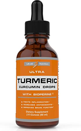 Liquid Turmeric Curcumin with Bioperine offering Best Absorption. Turmeric Extract with Black Pepper for Back, Knees and Hand Discomfort. Turmeric Drops for Joint Support