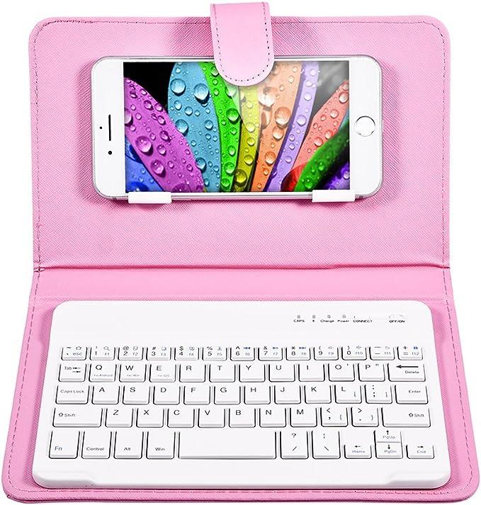 Eboxer Funda Protectora con Teclado Desmontable Bluetooth Portátil para Teléfonos, Soporte Incorporado de Teléfonos de 4.5-6.8in para ...