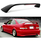 FOR 1996-2000 HONDA CIVIC 2DR COUPE EM EJ Si STYLE TRUNK SPOILER WING W/ RED LED 3RD BRAKE LIGHT